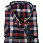 Cotton Valley 14372 S/S Shirt - navy/wine check