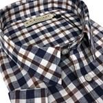 R M Williams Hervey S/S Shirt - navy/brown check