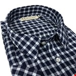 R M Williams Hervey Check S/S Shirt - navy check