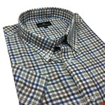 Cotton Valley 14293 S/S Shirt - navy/taupe check