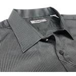 Maurio L/S Self Stripe - black