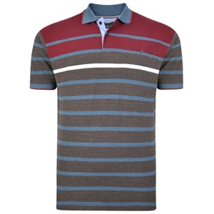KAM Burgundy Stripe Polo